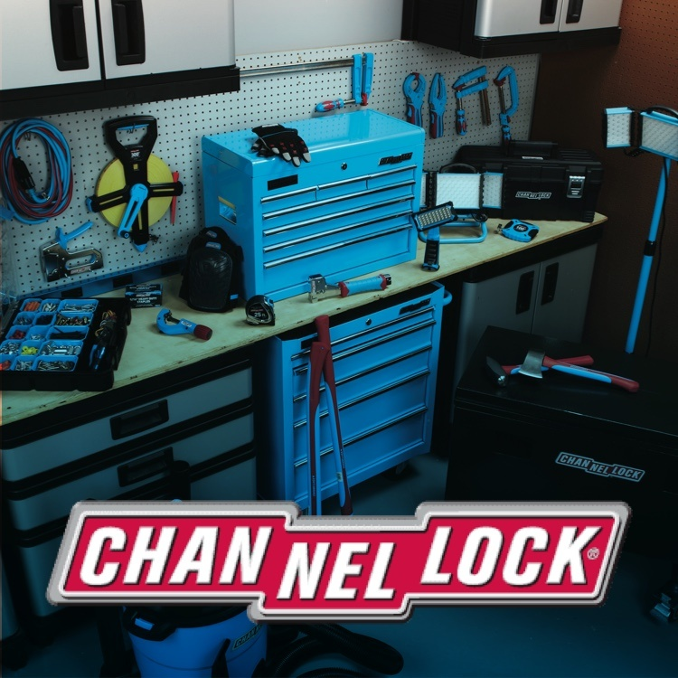 Channellock tools and work bench with logo
